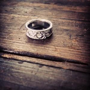 ローズクォーツ入りsol texture ring
