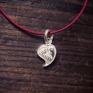 純銀手彫りハートネックレス