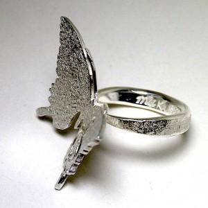ハンドメイド蝶シルバーリング