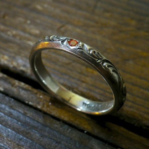 muku round ring [3.5mm/唐草 & orange CZ]